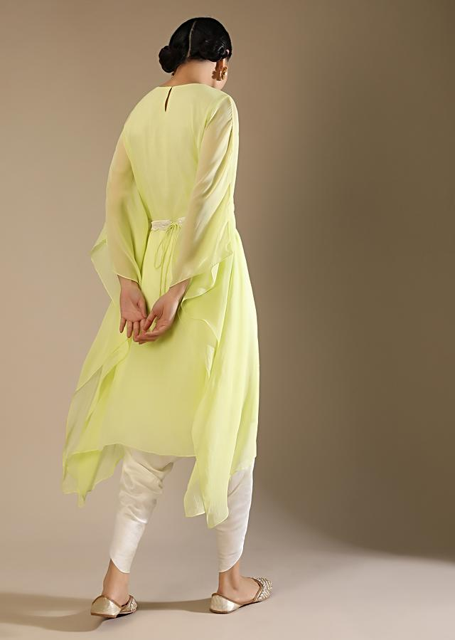 Powder Lime Kaftan And Dhoti Suit With Hand Embroidery On The Neckline With Sequins And Cut Dana Along With A Belt Online - Kalki Fashion