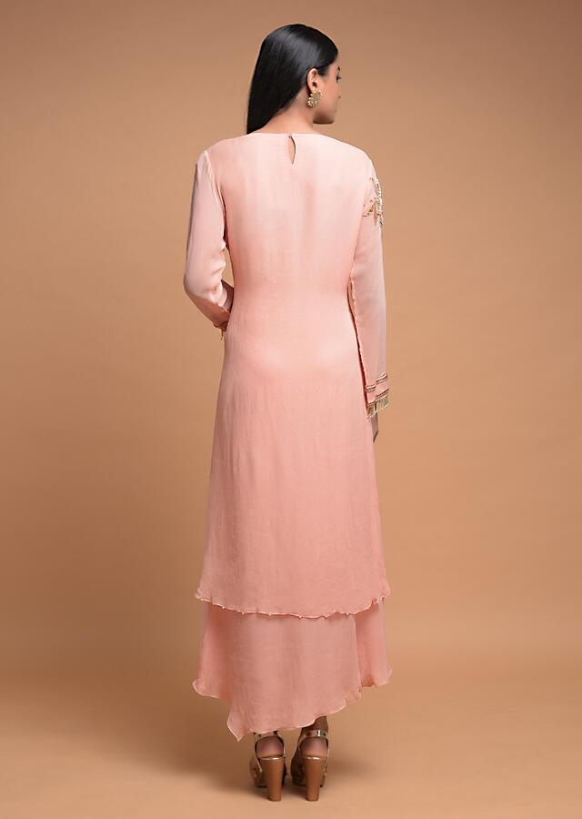 Powder Peach A Line Suit In Georgette With Layered Hemline And Gotta Work Online - Kalki Fashion