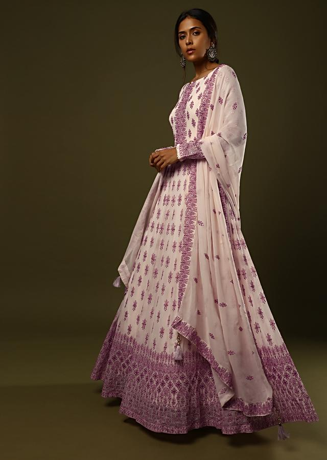 Powder Peach Anarkali Suit In Georgette With Dark Green Thread And Sequins Embroidered Buttis And Intricate Border Design Online - Kalki Fashion