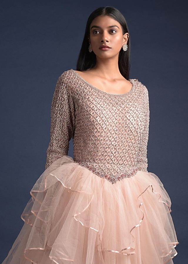 Powder Peach Ball Gown In Net With Fancy Layers And Moroccan Embroidered Bodice Online - Kalki Fashion