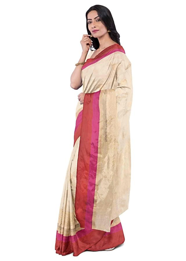 Powder Peach Banarasi Silk Saree With Matching Blouse Piece Online - Kalki Fashion