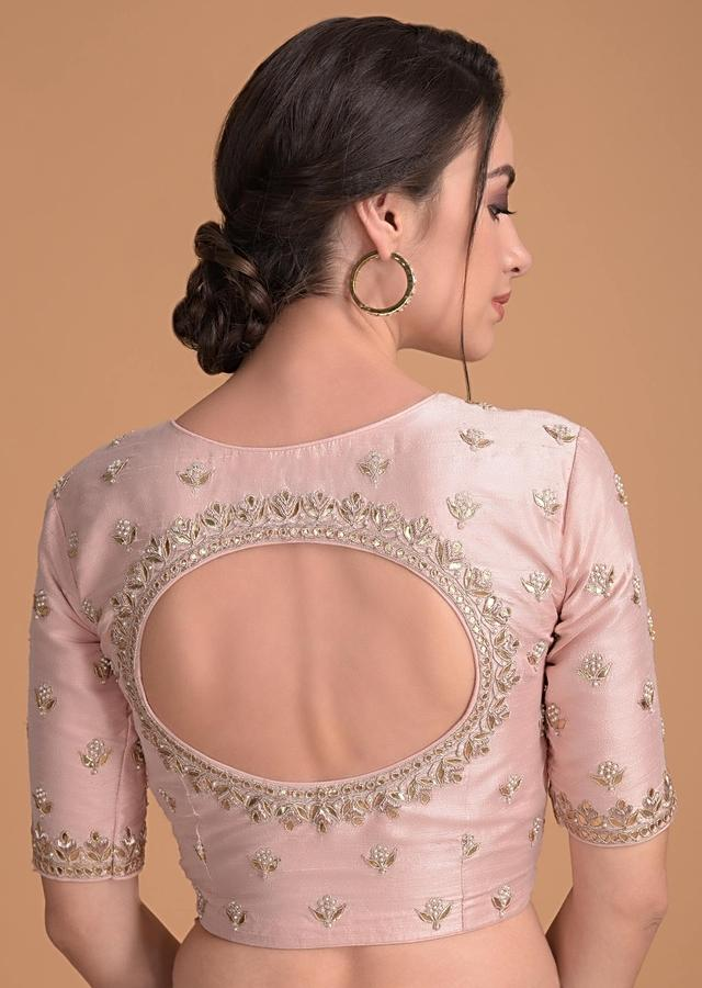 Powder Peach Blouse In Raw Silk With Gotta Patch Embroidery And Floral Buttis Online - Kalki Fashion