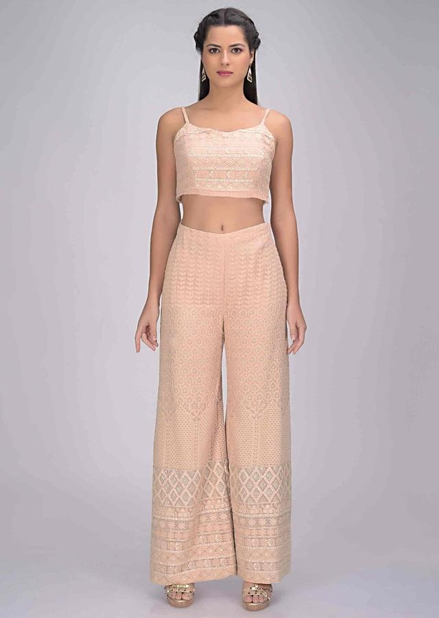 Powder Peach Palazzo And Crop Top Set In In Georgette With Matching Ruffle Layered Jacket Online - Kalki Fashion