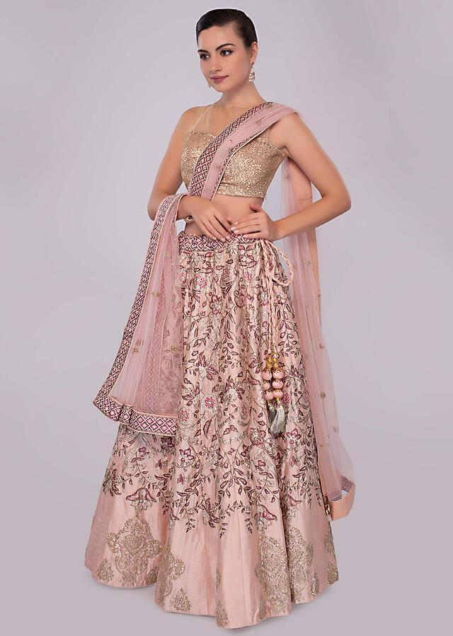 Powder Peach Lehenga In Cotton Silk With Foil Printed Embroidery Work Online - Kalki Fashion