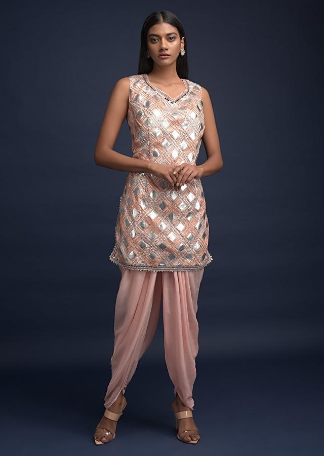 Powder Peach Dhoti Suit In Net With Foil Applique And Gotta Lace Embroidered Checks Pattern Online - Kalki Fashion