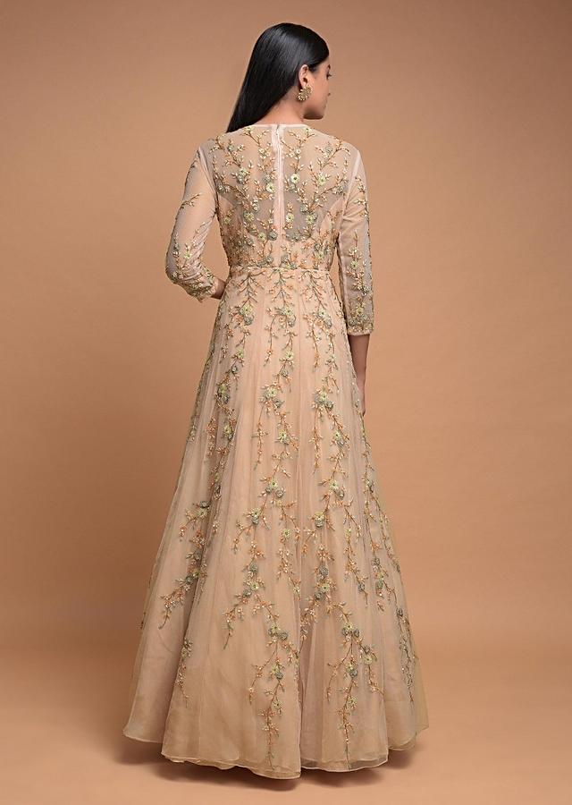 Powder Peach Gown In Net With Thread Embroidered Floral Pattern Online - Kalki Fashion