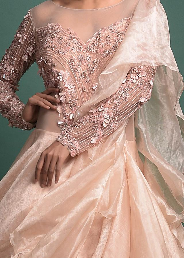 Powder Peach Gown In Shimmer Organza With Embellished Net Bodice And Attached Drape Online - Kalki Fashion