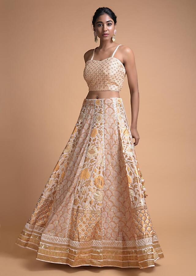 Powder Peach Jacket Lehenga With Weaved Floral And Scallop Pattern On Alternating Kalis Online - Kalki Fashion