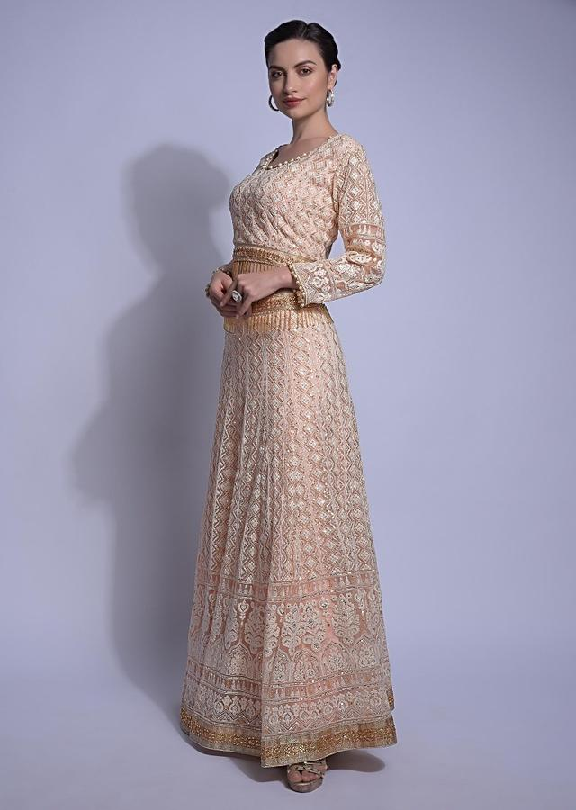 Powder Peach Lehenga Choli With Thread Work In Geometric Pattern And Salli Fringes Online - Kalki Fashion