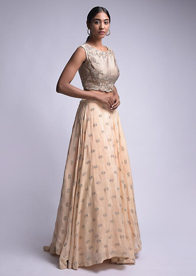 Powder Peach Lehenga With Floral Buttis And Rhino Grey Embroidered Crop Top Online - Kalki Fashion