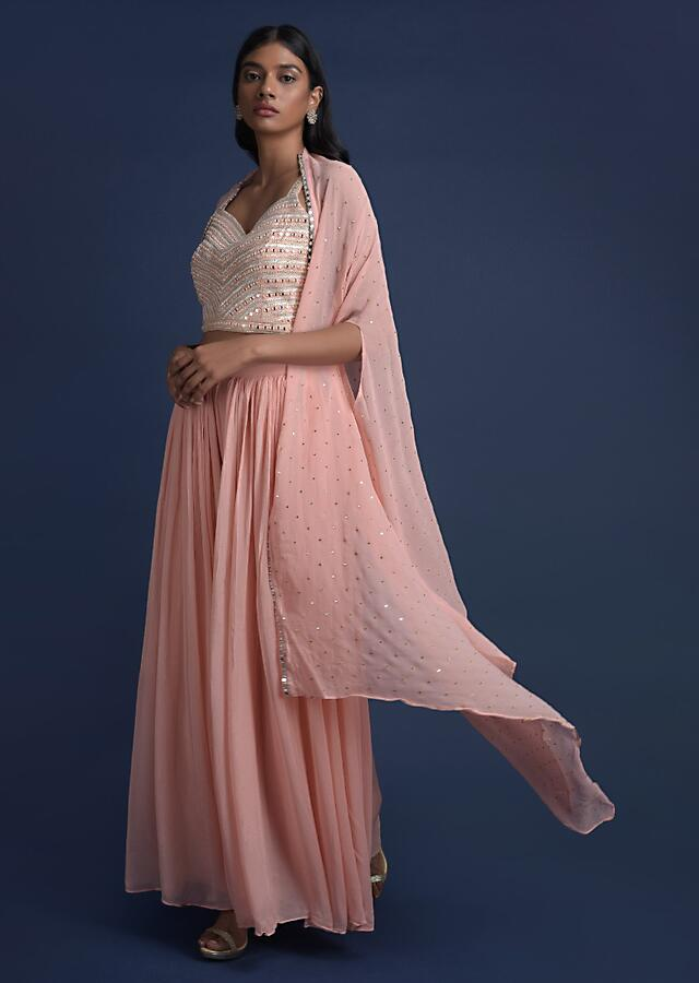 Powder Peach Palazzo Suit And Jacket With Mirror Abla Work Online - Kalki Fashion