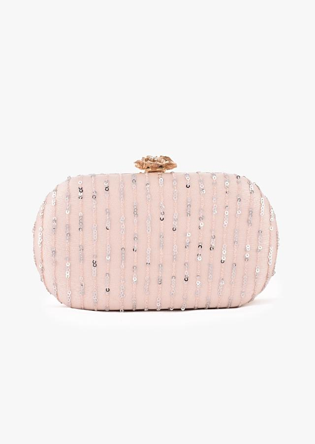 Powder Peach Rounded Box Clutch With Embroidered Net Adorned In Resham And Sequins In Striped Design Online - Kalki Fashion