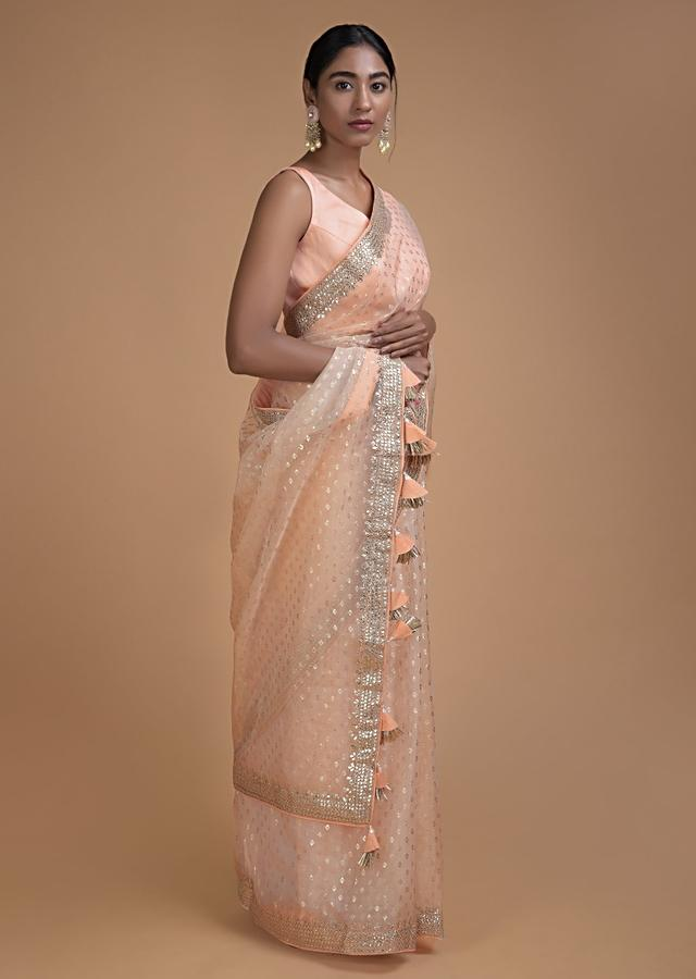 Powder Peach Saree In Organza With Foil Printed Buttis All Over Online - Kalki Fashion