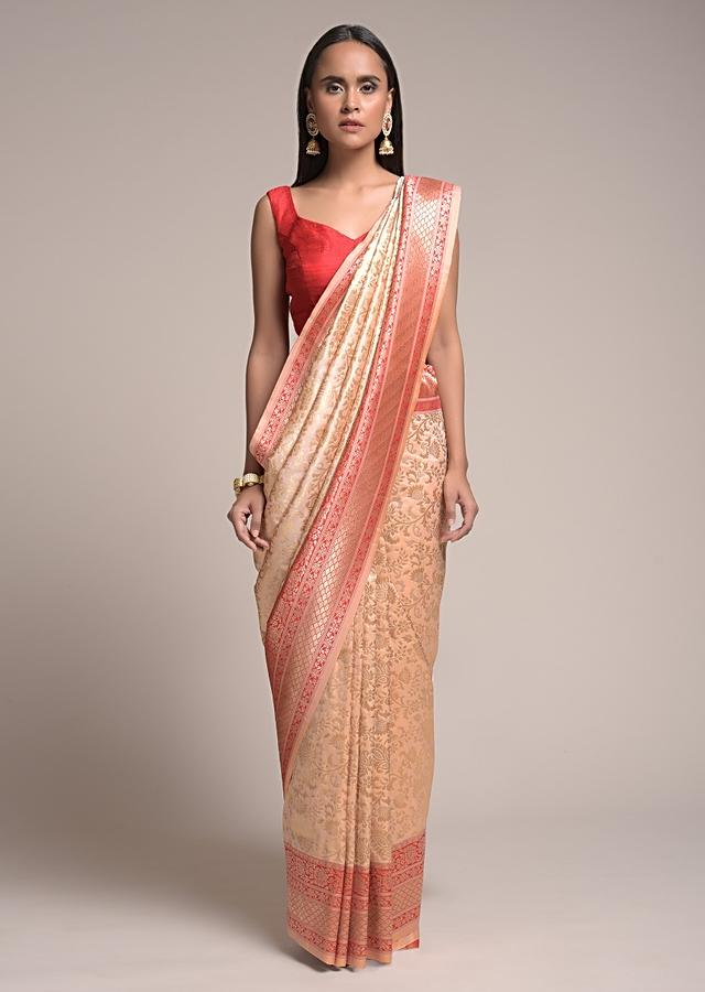 Powder Peach Saree In Silk With Woven Floral Jaal And Red Patola Pallu Online - Kalki Fashion