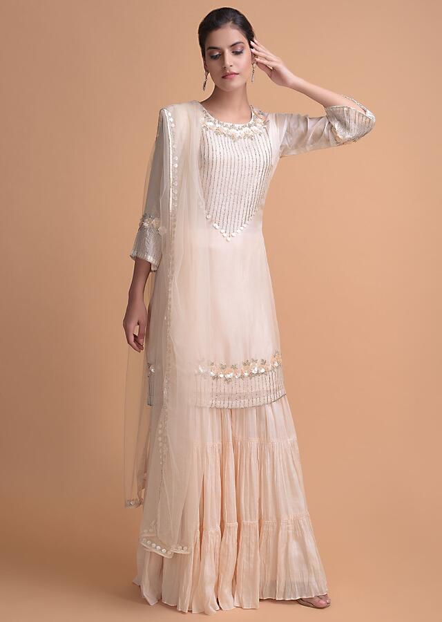 Powder Peach Sharara Suit With 3D Floral Embroidered Placket Online - Kalki Fashion