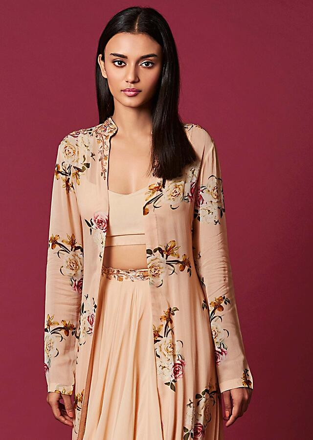 Powder Peach Skirt And Crop Top With Floral Printed Long Tiered Jacket