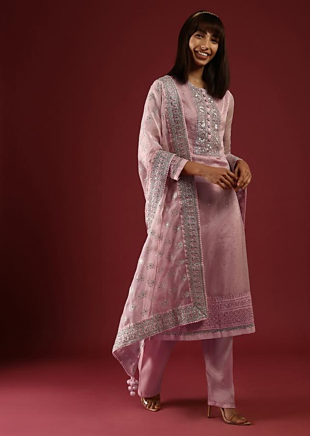 Powder Peach Straight Cut Suit With Mirror Work On The Yoke And An Organza Dupatta With Sequins Embroidered Floral Buttis Online - Kalki Fashion