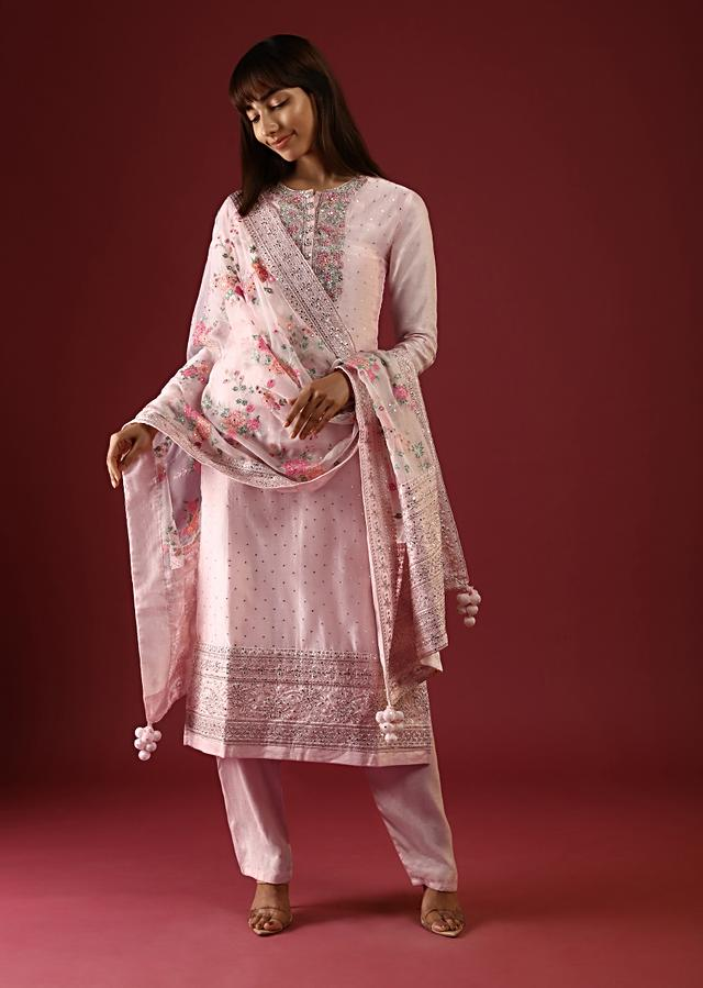 Powder Peach Straight Cut Suit With Multi Colored Thread Embroidered Floral Motifs On The Yoke And Organza Dupatta Online - Kalki Fashion