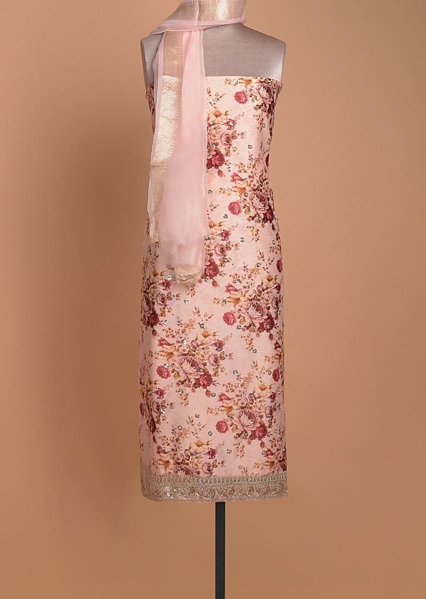 Powder Peach Unstitched Suit With Floral Print And Embellished Buttis Online - Kalki Fashion