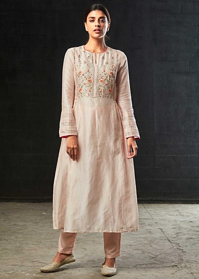 Powder Pink A Line Suit In Cotton Silk Embellished In Resham And Gotta Patch Embroidery Online - Kalki Fashion