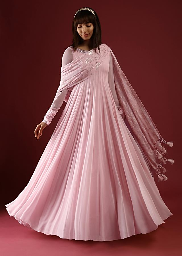 Powder Pink Anarkali Suit In Georgette With Churidar Sleeves And Stones Embellished Neckline Along With A Sequin Work Dupatta Online - Kalki Fashion