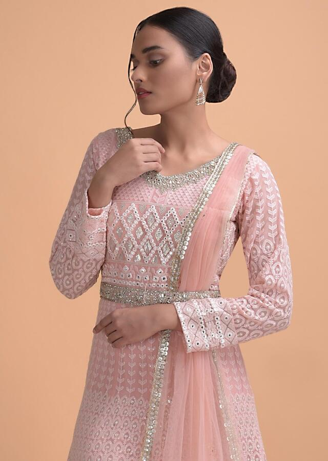 Powder Pink Anarkali Suit With Lucknowi And Abla Work In Geometric And Floral Pattern Online - Kalki Fashion
