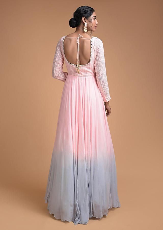 Reem Sameer In Kalki Powder Pink And Blue Shaded Anarkali Suit With Thread Embroidered Bodice And Dupatta
