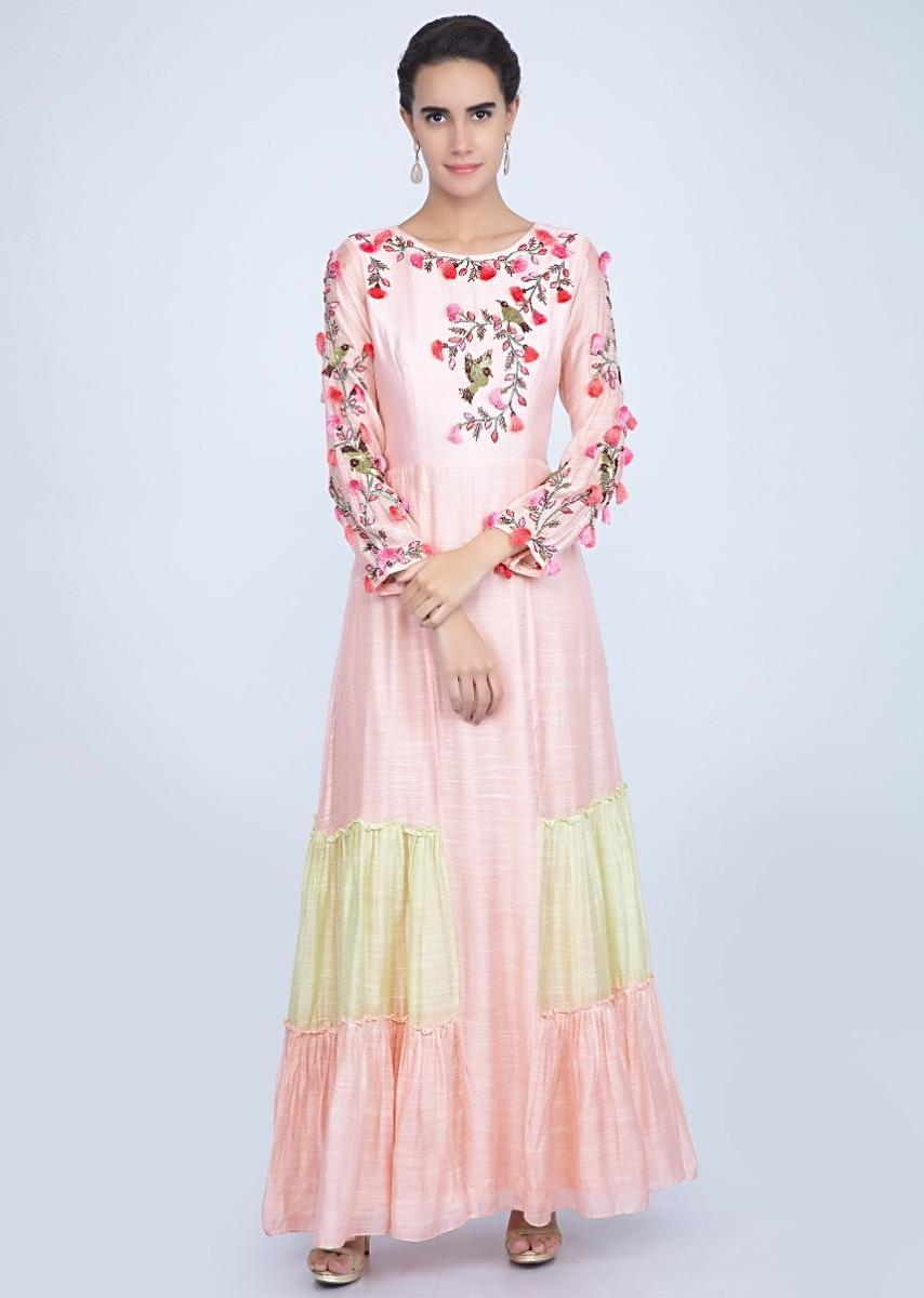 84844f3a2ab Powder pink and green two Toned tunic dress with embroidered bodice only on  Kalki