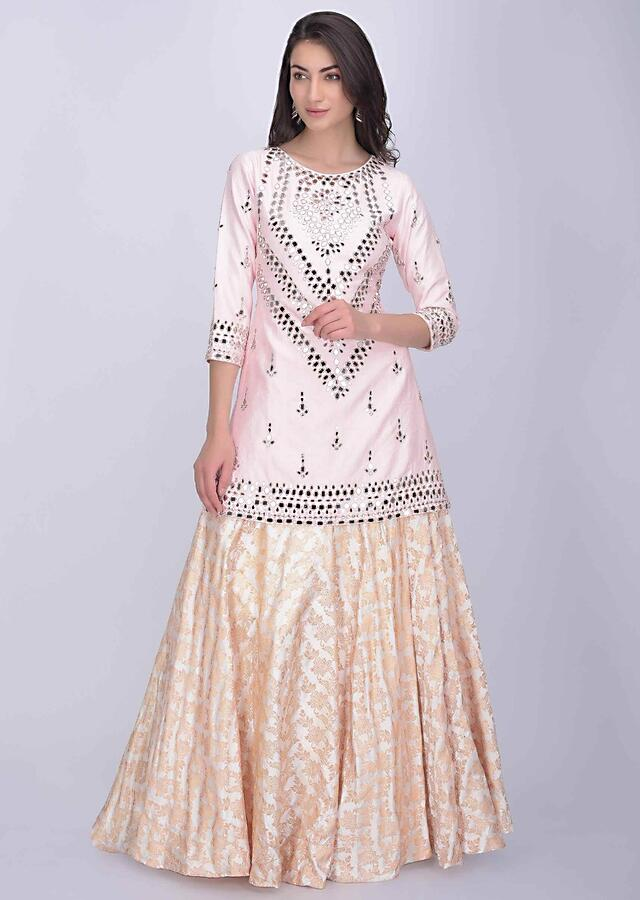 Powder Pink Suit In Cotton Silk With Brocade Pearl White Silk Lehenga Online - Kalki Fashion