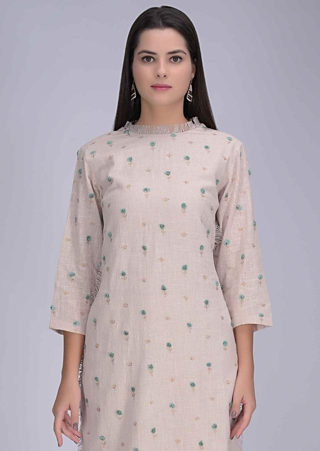 Powder Pink Suit In Cotton With Matching Straight Cut Pants Online - Kalki Fashion