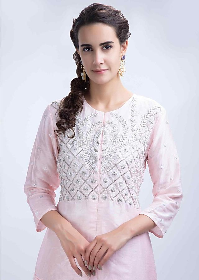 Powder Pink Long Top With Embroidery Work And Center Slit Paired With A Matching Georgette Skirt Online - Kalki Fashion
