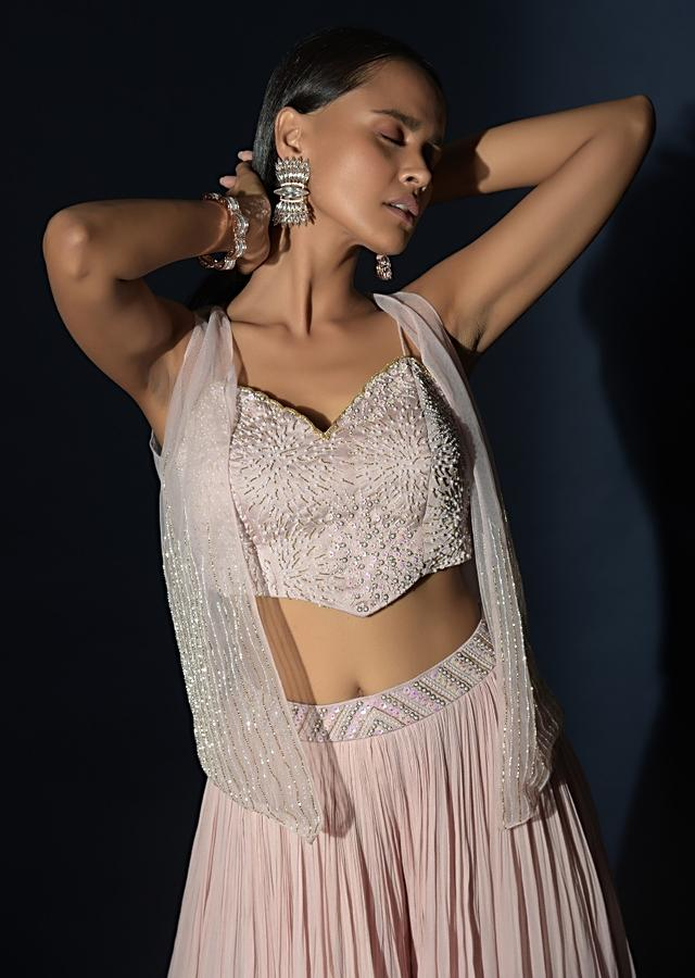 Powder Pink Flared Palazzo And Crop Top Suit With Moti Work And Short Net Jacket Online - Kalki Fashion