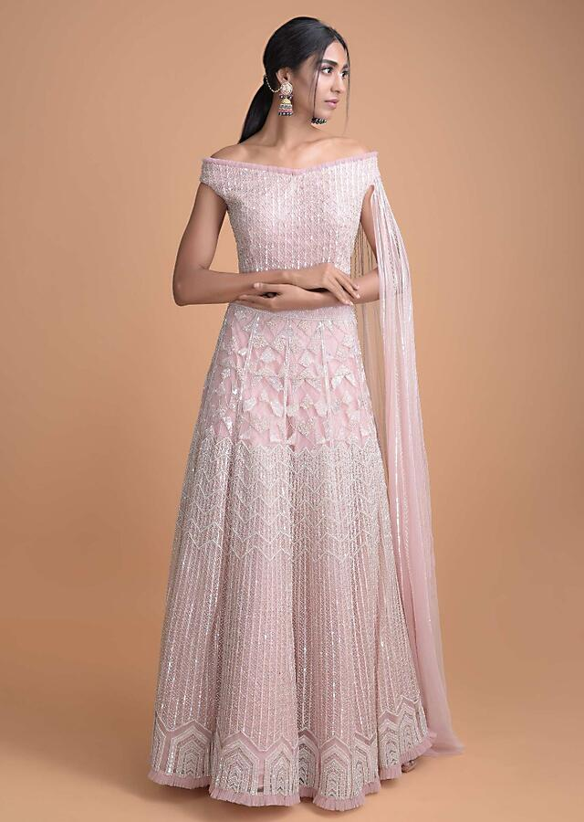 Powder Pink Hand Embroidered Lehenga And Off Shoulder Crop Top With Attached Dupatta Online - Kalki Fashion