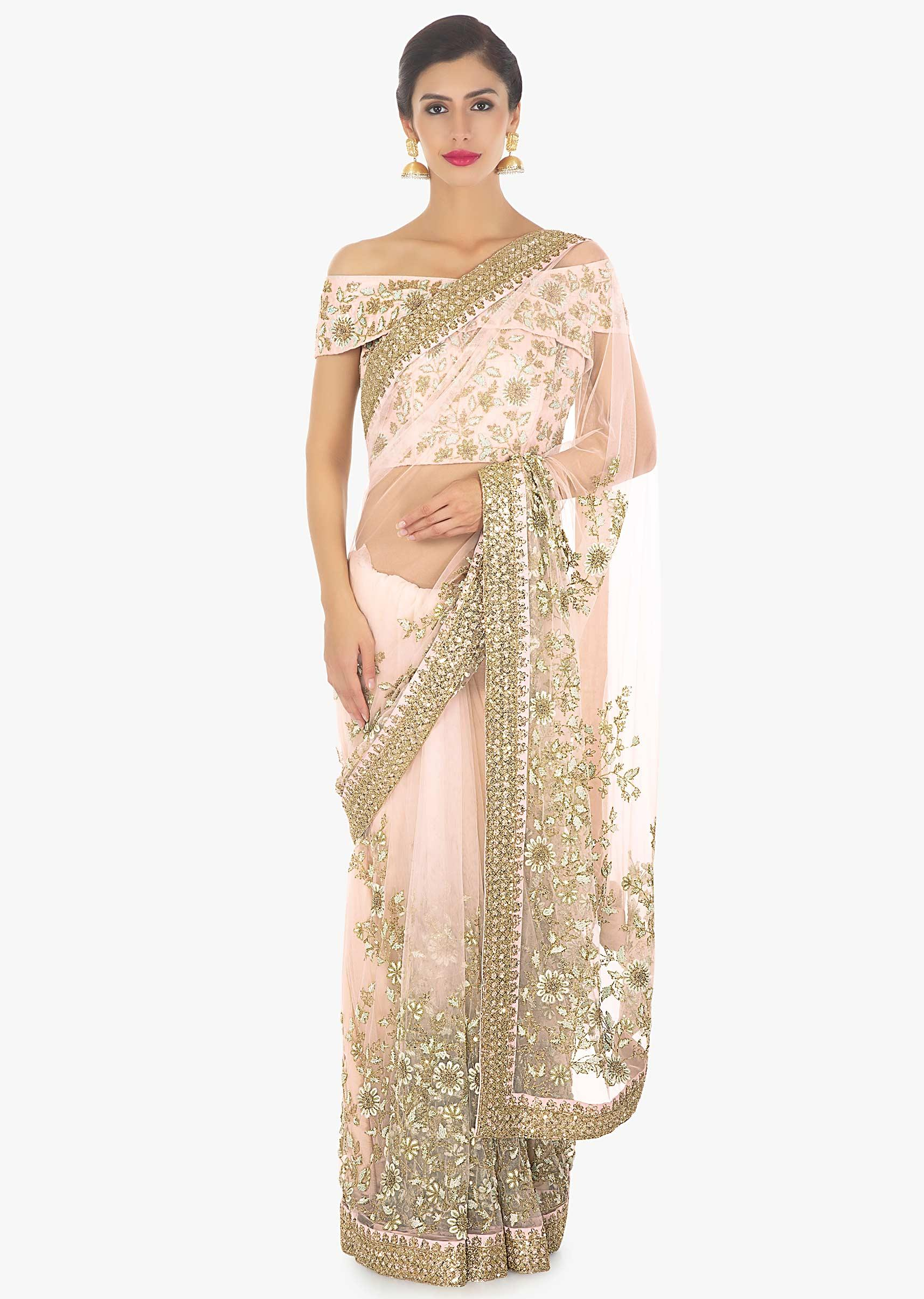 2122553192a03 Powder pink heavily embellished net saree paired with matching raw silk off  shoulder blouse only on KalkiMore Detail