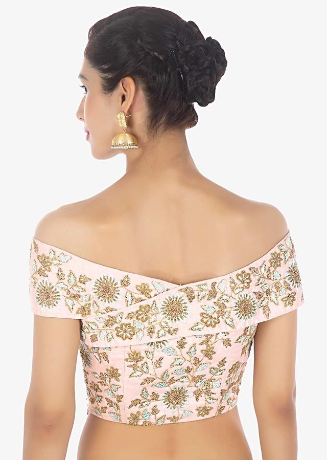Powder Pink Saree In Heavily Embellished Net Paired With Matching Raw Silk Off Shoulder Blouse Online - Kalki Fashion