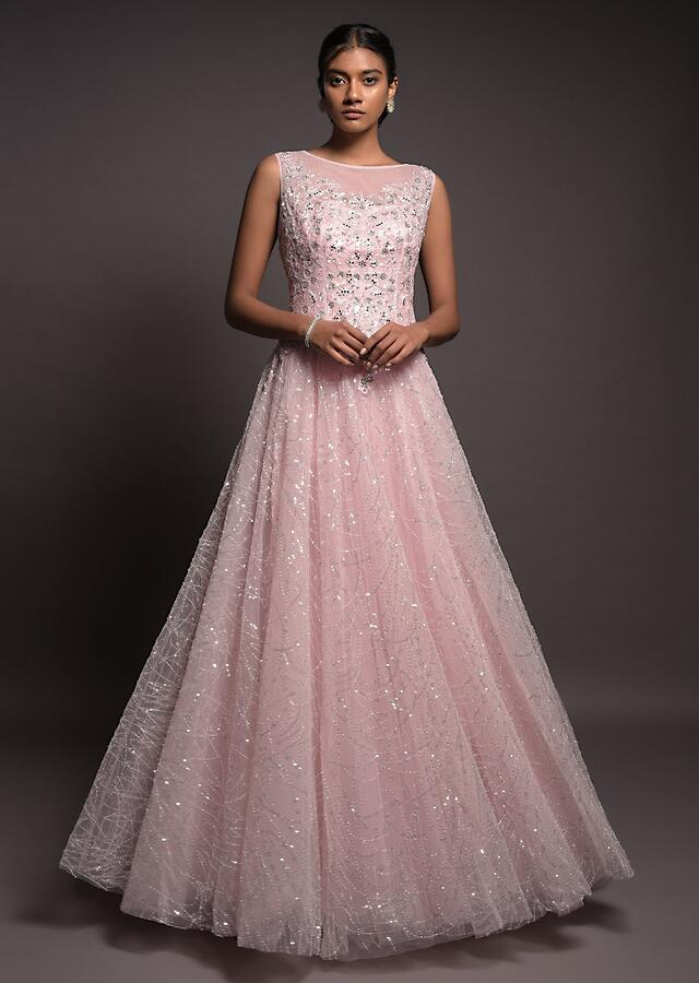Powder Pink Indowestern Gown In Net With Sequins Work In Abstract Pattern And Mirror Work Online - Kalki Fashion