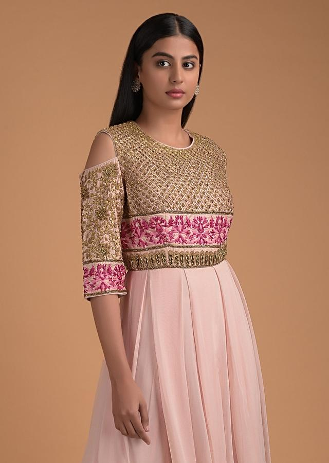 Powder Pink Indowestern Gown With Embellished Floral And Checks Pattern Online - Kalki Fashion