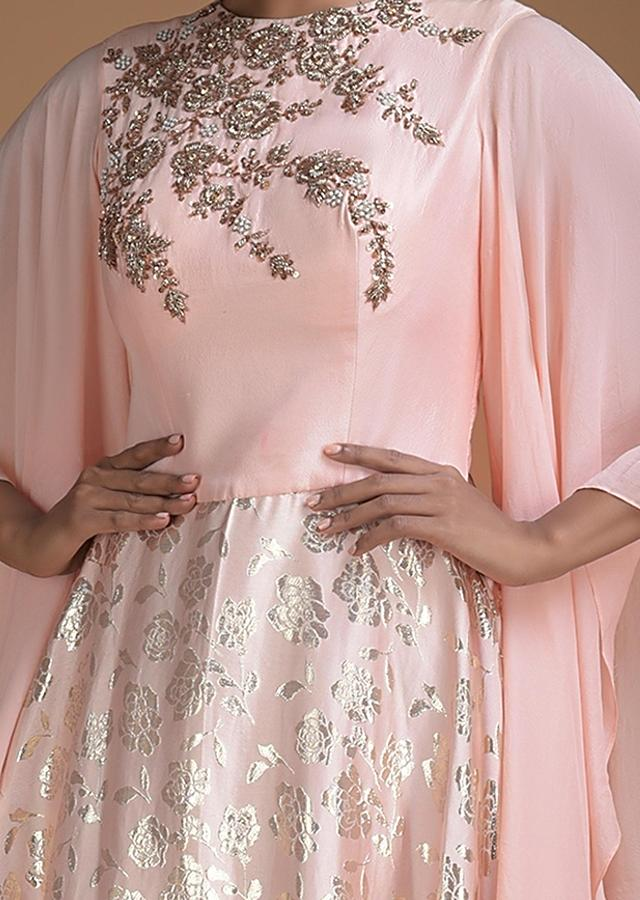 Powder Pink Indowestern Gown With Weaved Floral Jaal And Elaborate Bell Sleeves Online - Kalki Fashion