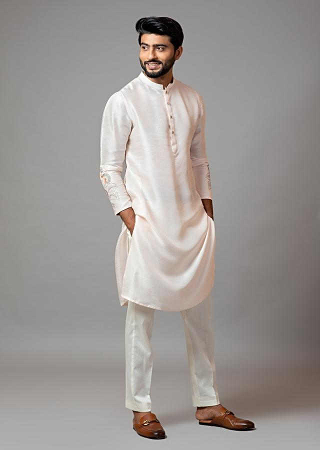 Powder Pink Kurta In Bam Silk With Minimal Multi Colored Floral Embroidery And Cream Pajama By Smriti Apparels
