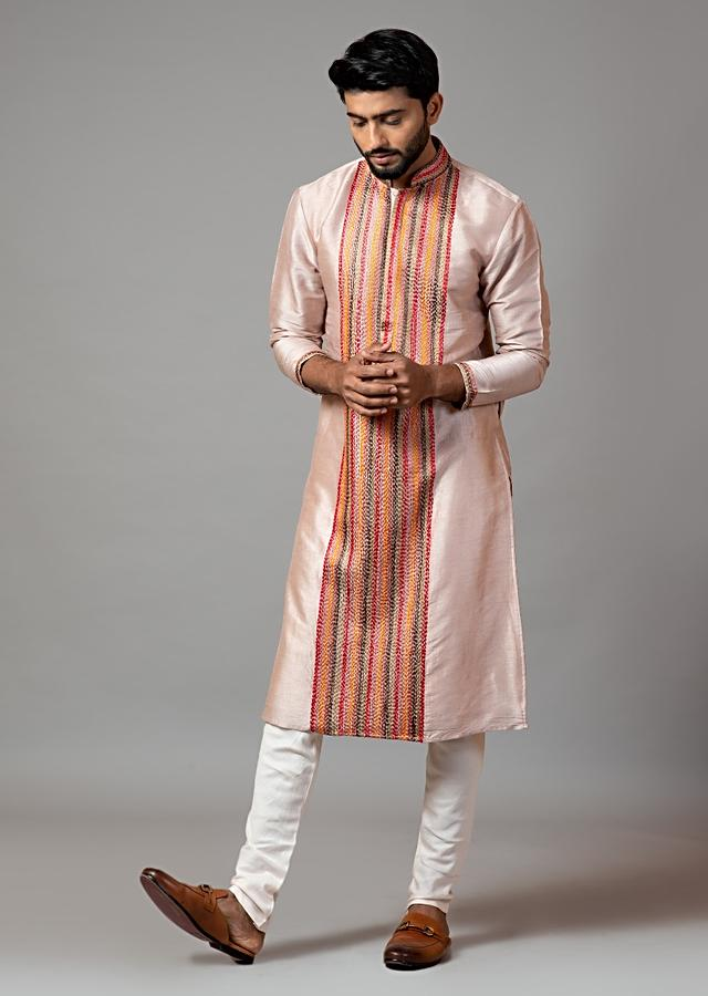 Powder Pink Kurta Set In Silk With Multicolor Thread Work In Linear Design On The Front By Smriti Apparels