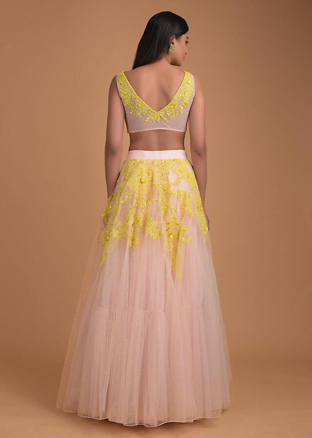 Powder Pink Lehenga And Crop Top In Net With Yellow Net Patch Work In Floral Pattern Online - Kalki Fashion