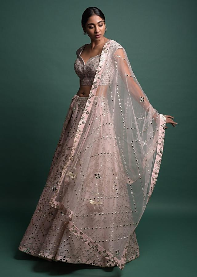 Powder Pink Lehenga Choli In Organza With Foil Applique And Mirror Abla Work Online - Kalki Fashion