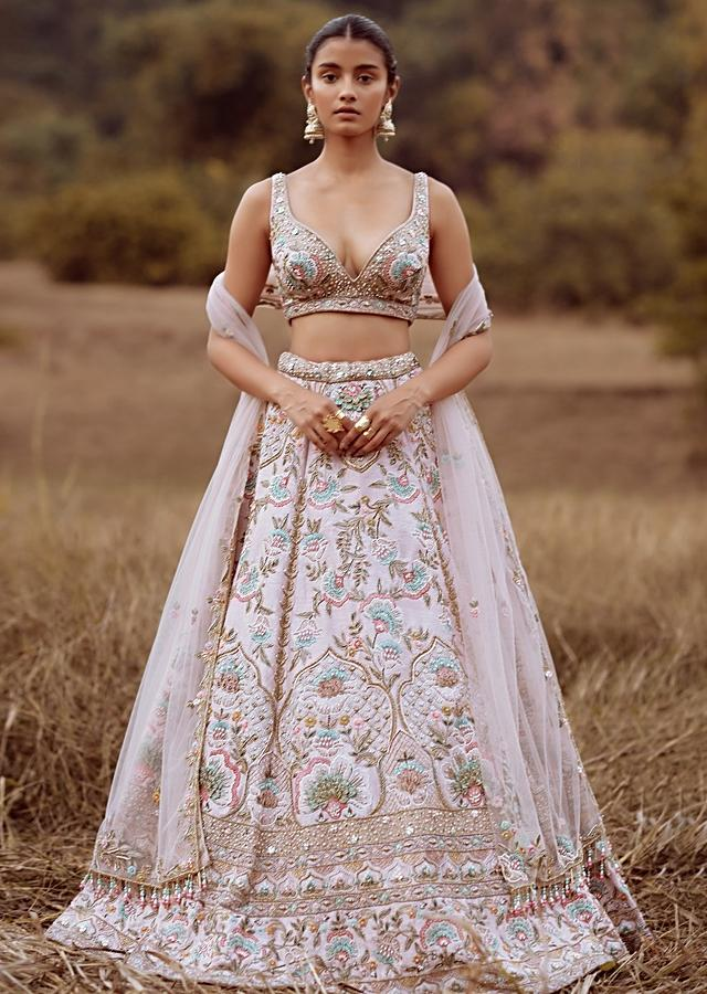 Powder Pink Lehenga Choli In Raw Silk With Colorful Resham And Cut Dana Embroidered Summertime Flowers And Mughal Motifs Online - Kalki Fashion