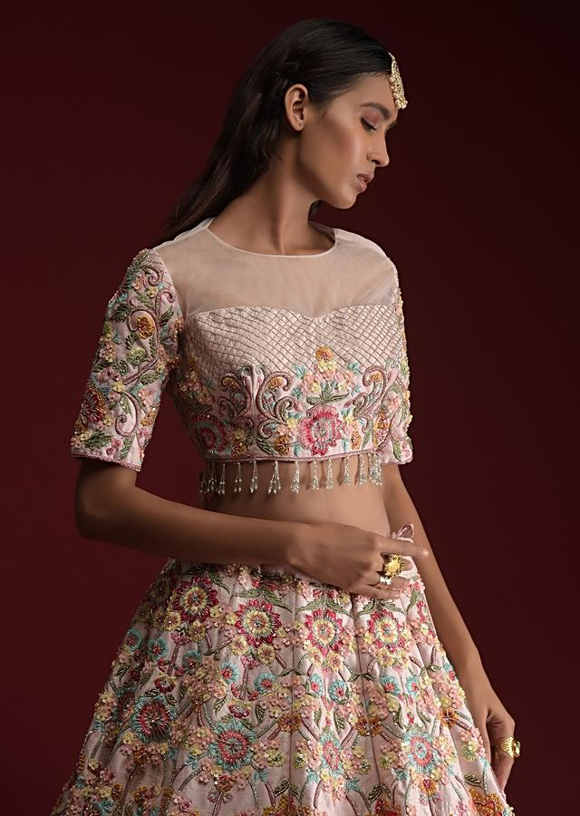 Powder Pink Lehenga Choli In Raw Silk With Hand Embroidered Floral Kalis Using Colorful Resham And Flower Sequins Online - Kalki Fashion