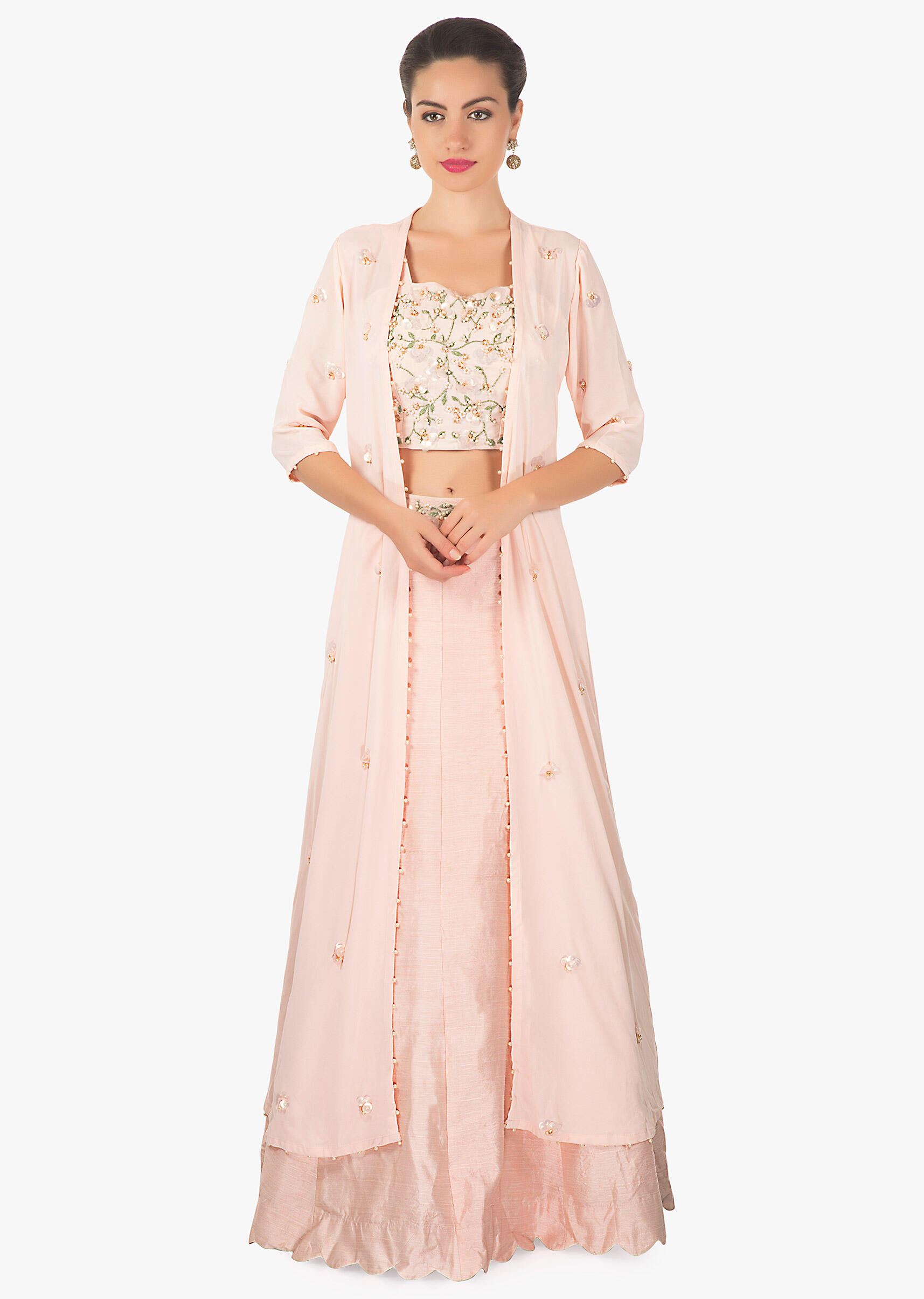 8bf38d58b183ca Powder pink lehenga matched with crop top blouse and long embroidered jacket  only on Kalki