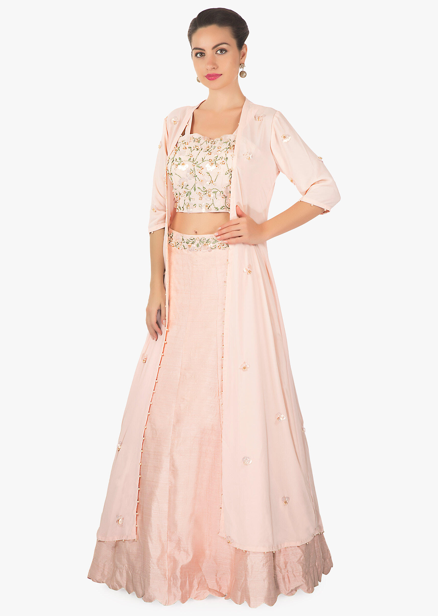 Powder pink lehenga matched with crop top blouse and long embroidered  jacket only on KalkiMore Detail 5d2ebd882
