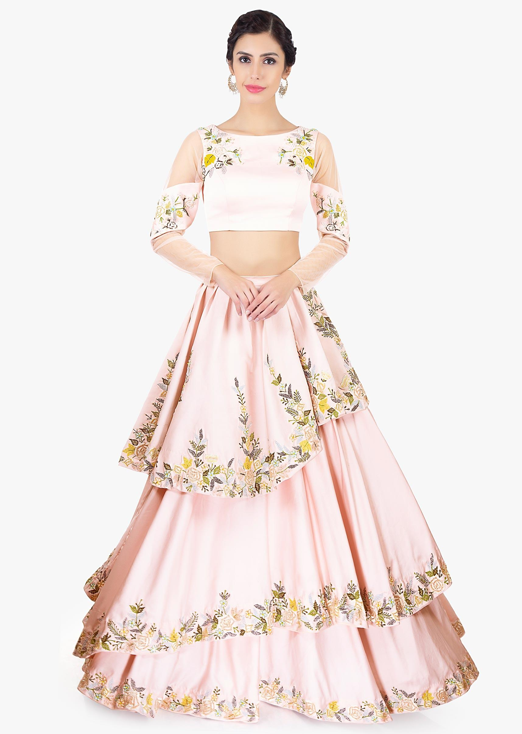 6064e7dd0f92db Powder pink multi layered crepe skirt paired with floral embroidered crop  top only on KalkiMore Detail