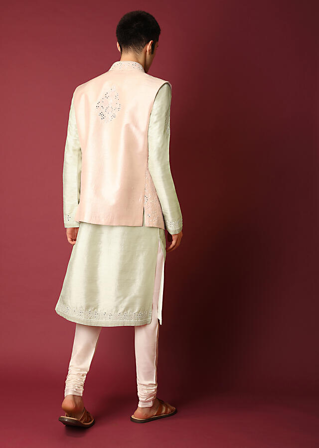 Powder Pink Nehru Jacket In Raw Silk With Mirror And Thread Embroidered Floral Jaal And Ivory Kurta Set Online - Kalki Fashion