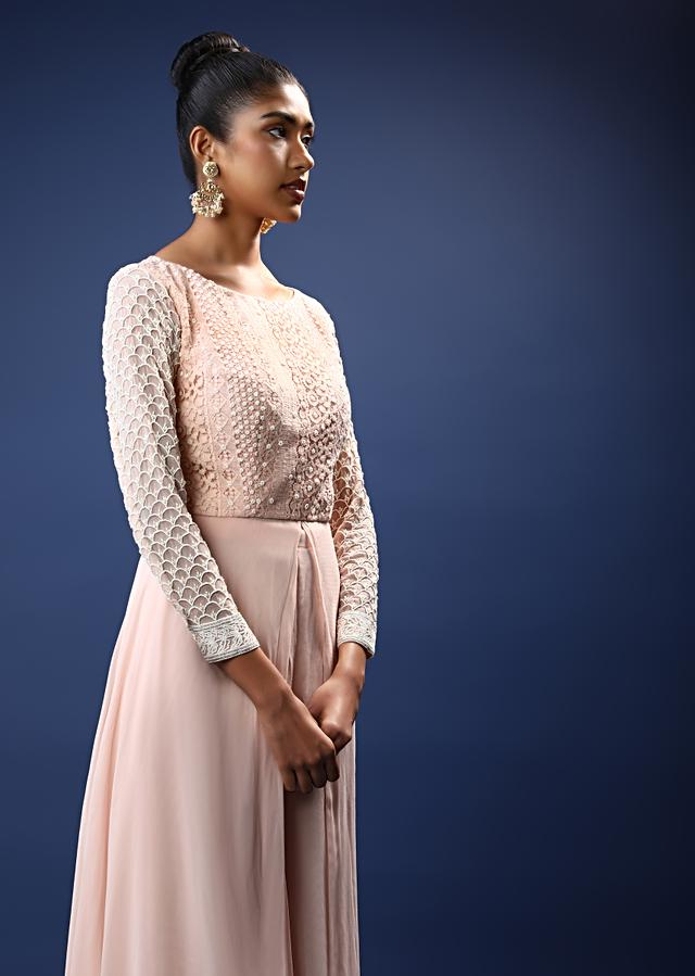 Powder Pink Palazzo Suit In Georgette With A Long Slit Top In Crochet Lace Adorned In Moti Bead Detailing Online - Kalki Fashion