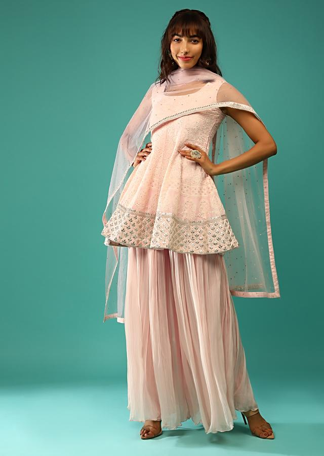 Powder Pink Palazzo Suit In Georgette With Peplum Styled Kurti Adorned In Lucknowi And Gotta Work Online - Kalki Fashion